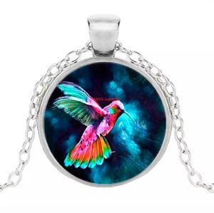 Colorful Hummingbird Silver and Glass Necklace